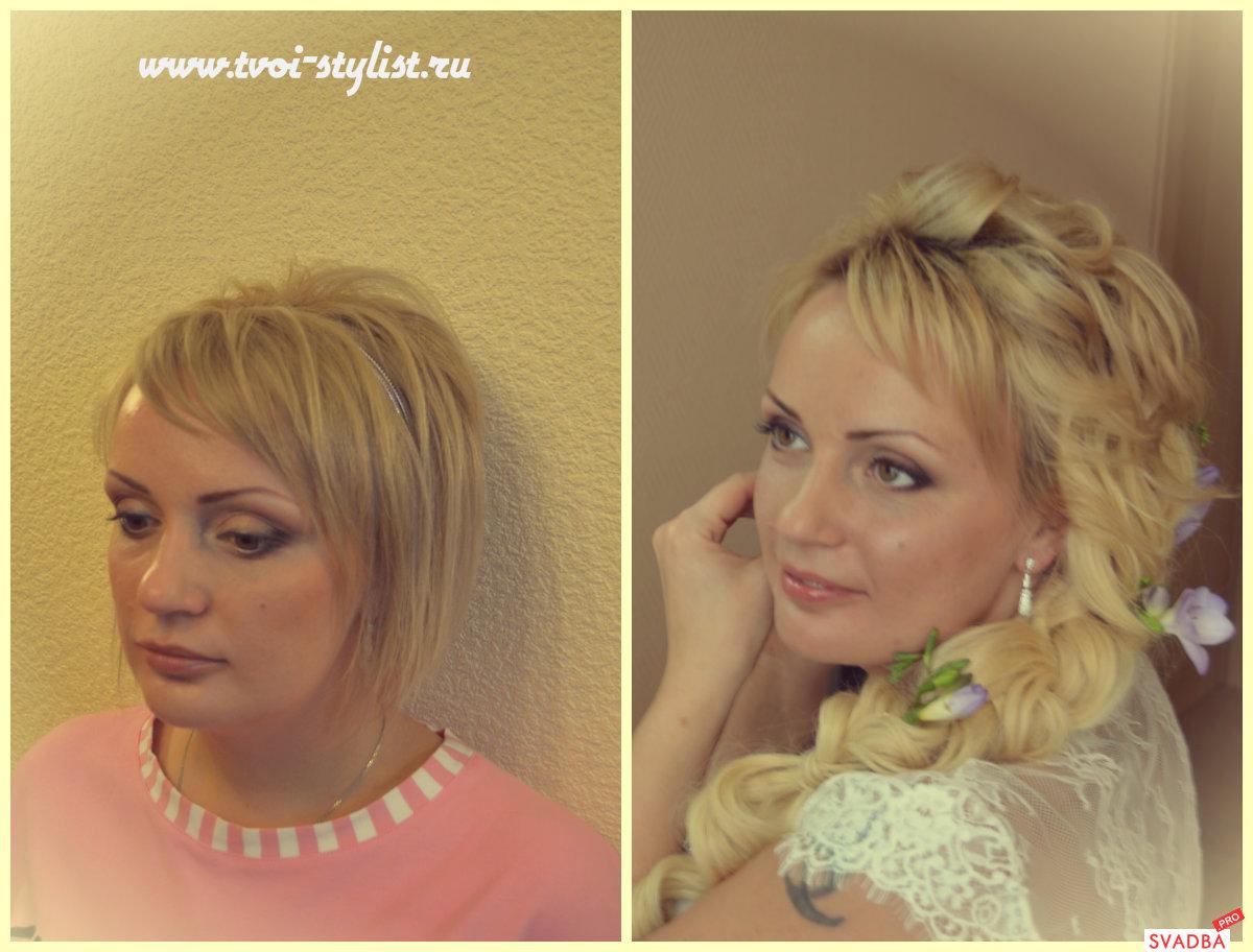 свадебные прически на средние волосы с накладными прядями